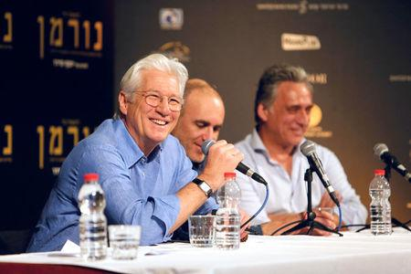 """Actor Richard Gere, director Joseph Cedar and actor Lior Ashkenazi hold a news conference following the screening of the film """"Norman: The Moderate Rise And Tragic Fall Of A New York Fixer"""" in Jerusalem"""