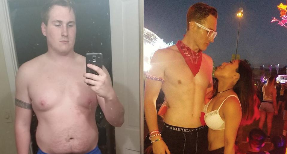 Laustrup before and after losing weight and getting in shape. (Photo: Nick Laustrup)
