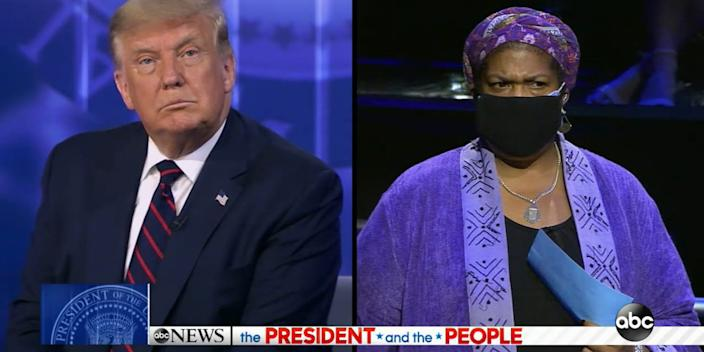 """Ellesia Blaque, right, shut down the president for interrupting her question at Tuesday night's ABC News town hall. <p class=""""copyright""""><a href=""""https://abcnews.go.com/2020/video/trump-abc-news-town-hall-protect-coverage-preexisting-73037392"""" rel=""""nofollow noopener"""" target=""""_blank"""" data-ylk=""""slk:ABC News"""" class=""""link rapid-noclick-resp"""">ABC News</a></p>"""
