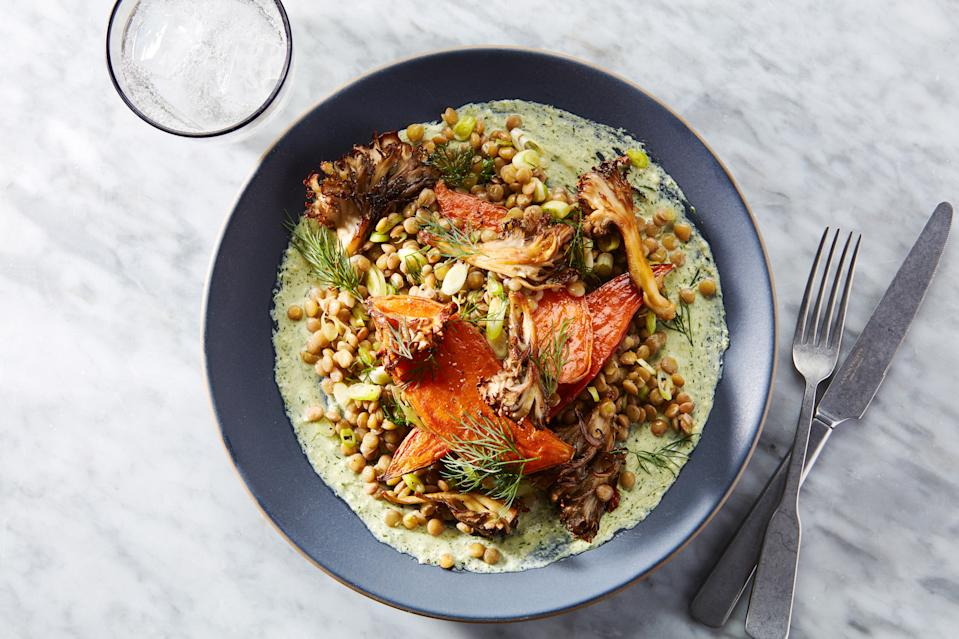 """<h1 class=""""title"""">Sweet Potato Dinner - RECIPE & INSET</h1><div class=""""caption"""">We call this <a href=""""https://www.epicurious.com/recipes/food/views/sweet-potato-dinner-with-mushrooms-lentils-and-feta-tahini-sauce?mbid=synd_yahoo_rss"""" rel=""""nofollow noopener"""" target=""""_blank"""" data-ylk=""""slk:A Vegetarian's Dream Sweet Potato Dinner"""" class=""""link rapid-noclick-resp""""><strong>A Vegetarian's Dream Sweet Potato Dinner</strong></a>, which features lentils scattered throughout.</div><cite class=""""credit"""">Photo by Joseph De Leo, Food Styling by Erika Joyce</cite>"""