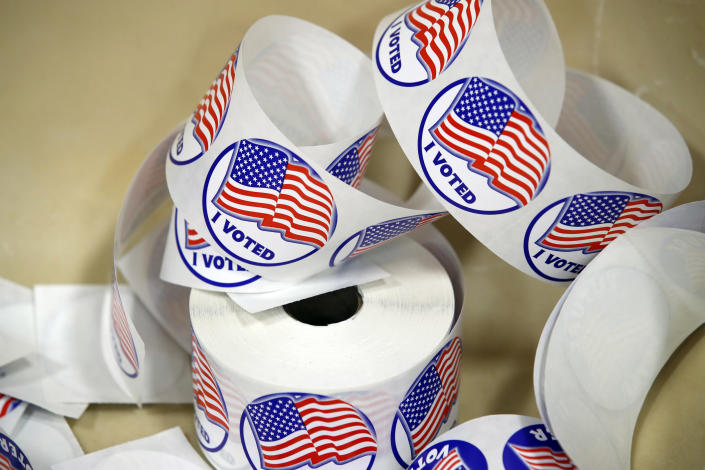 """""""I Voted"""" stickers set out at a polling place Tuesday, Nov. 7, 2017, in Alexandria, Va. (Photo: Alex Brandon/AP)"""