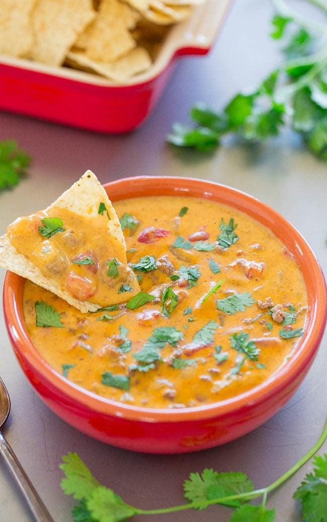 "<p>While this is technically a queso dip, the texture of the cheese is <em>so</em> creamy that the chef behind this recipe considers it fondue. Made with caramelized onions, ground beef, taco seasoning, and cheese, this savory appetizer was made to eaten with warm chips and hearty pretzel bites. </p> <p><strong>Get the recipe</strong>: <a href=""https://www.averiecooks.com/beef-queso-dip/"" class=""link rapid-noclick-resp"" rel=""nofollow noopener"" target=""_blank"" data-ylk=""slk:beef queso dip"">beef queso dip</a></p>"