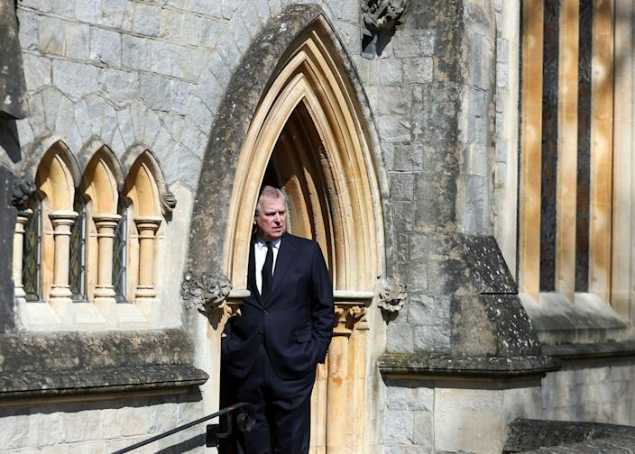 Prince Andrew attends Sunday service at the Royal Chapel of All Saints at Royal Lodge, Windsor, following the death announcement of his father, Prince Philip, April 11, 2021.