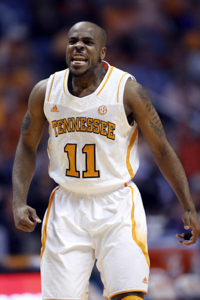 Tennessee guard Trae Golden (11) reacts to a shot in the first half of an NCAA college basketball game against Kentucky on Saturday, Feb. 16, 2013, in Knoxville, Tenn. (AP Photo/Wade Payne)