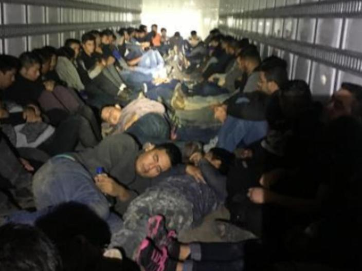 Customs and Border Protection found 76 people crammed into a truck attempting to immigrate to the US. The driver has been arrested: CBP/news release