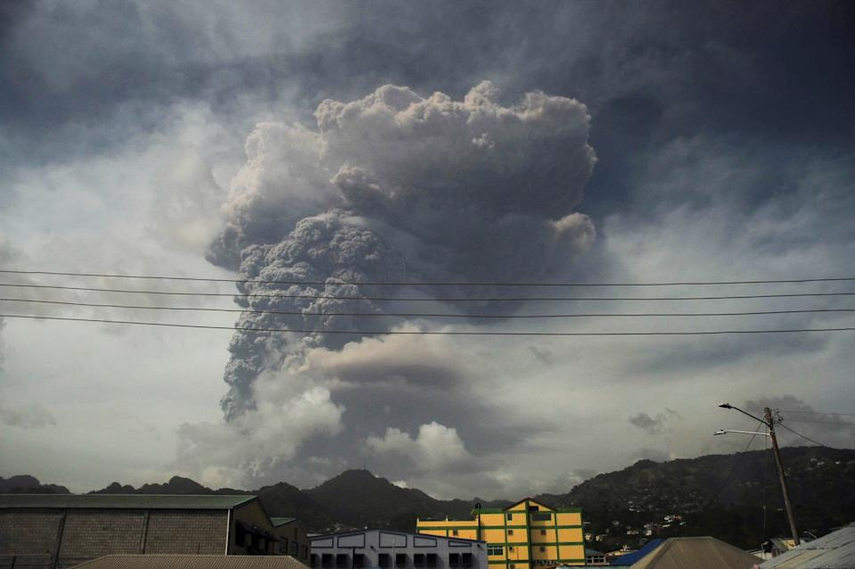 Ash and smoke billow as the La Soufriere volcano erupts in Kingstown on the eastern Caribbean island of St. Vincent April 9, 2021.  REUTERS/Robertson S. Henry