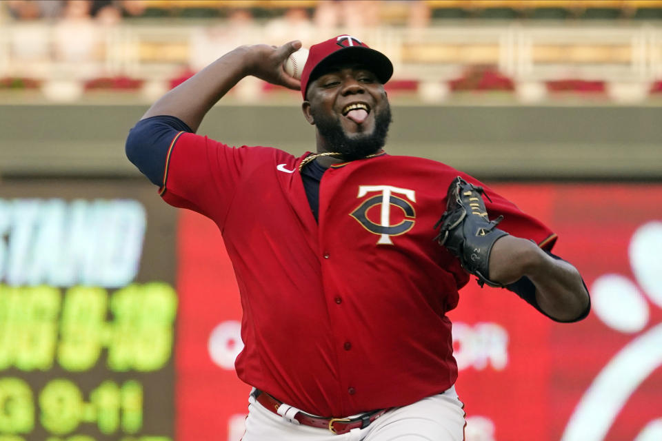 Minnesota Twins pitcher Michael Pineda throws against the Detroit Tigers in the first inning of a baseball game, Monday, July 26, 2021, in Minneapolis. (AP Photo/Jim Mone)