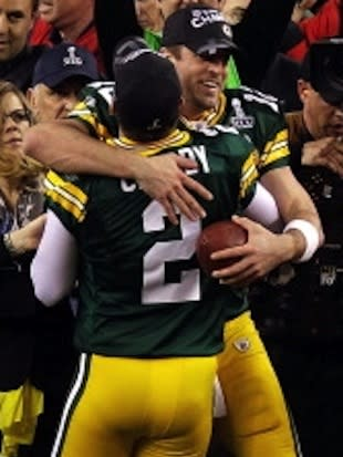 Green Bay Packers Aaron Rodgers and Mason Crosby celebrate their Super Bowl XLV win -- Getty Images