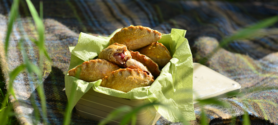 The crispness of the apples and onions gives these pasties a terrific crunch (Carr's Flour)