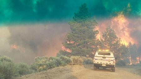FILE PHOTO: Flames rise from a treeline near an emergency vehicle during efforts to contain the Spring Creek Fire in Costilla County, Colorado, U.S. June 27, 2018.    Costilla County Sheriff's Office/Handout via REUTERS/File Photo