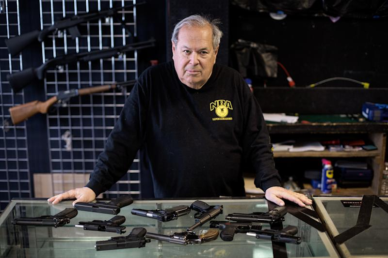 """Mike Weisser, a gun dealer based in Ware, Massachusetts, says the AR-15 rifles used in many mass shootings aren't sporting guns, as the industry claims. """"They're designed to kill people,""""he said. (Kayana Szymczak for HuffPost)"""