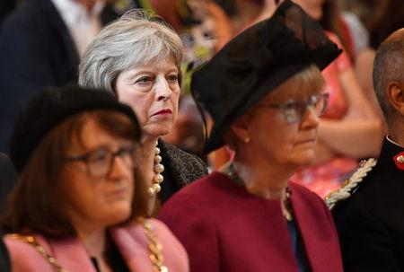 Britain's Prime Minister Theresa May attends a service of commemoration at Southwark Cathedral to mark one year since the terror attack on London Bridge and Borough, in London, Britain June 3, 2018. Dominic Lipinski/Pool via Reuters