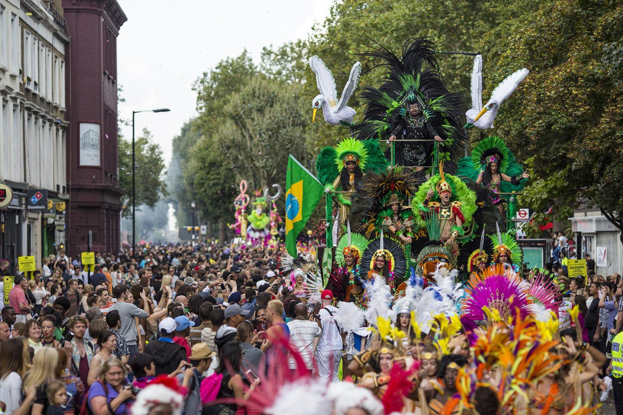 <p>Performers on a float take part in the Notting Hill Carnival on August 29, 2016 in London, England. (Photo by Jack Taylor/Getty Images) </p>
