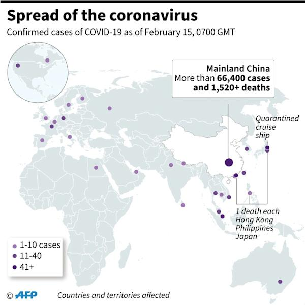 Countries or territories with confirmed cases and total deaths from the new coronavirus (COVID-19). (AFP Photo/)