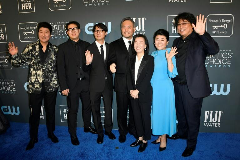 The cast and crew of 'Parasite' at the Critics' Choice Awards in Los Angeles