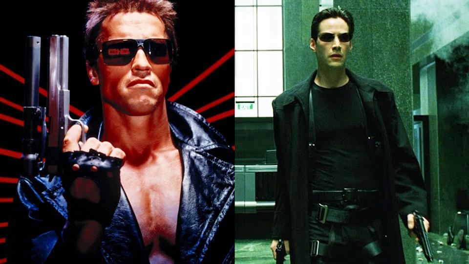 'The Terminator' and 'The Matrix' are sci-fi/action classics that could be linked. (Credit: Orion Pictures/Warner Bros)