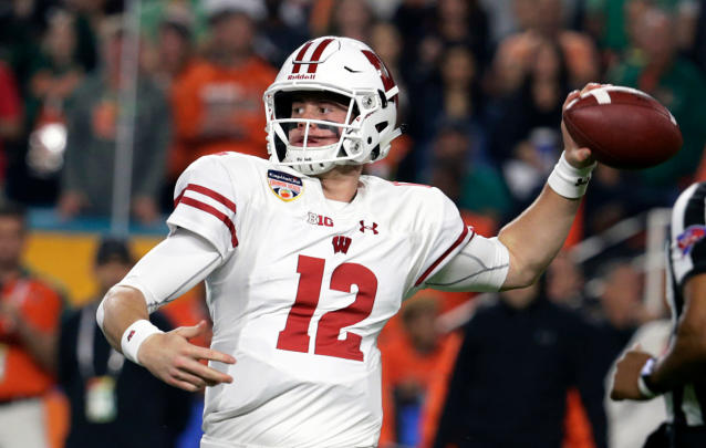 FILE - In this Dec. 30, 2017, file photo, Wisconsin quarterback Alex Hornibrook (12) looks to pass during the first half of the Orange Bowl NCAA college football game against Miami, in Miami Gardens, Fla. Spring is in the air for the Wisconsin's usually run-first offense. Coach Paul Chryst is letting loose a little bit more in spring practice, which makes sense given quarterback Alex Hornibrook's bowl performance and a stocked receiving corps. (AP Photo/Lynne Sladky, File)