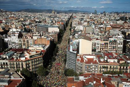 The Sagrada Familia cathedral is seen as thousands of people gather for a rally on Catalonia's national day 'La Diada' in Barcelona, Spain, September 11, 2017.    REUTERS/Albert Gea