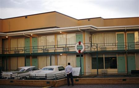 A man looks at the Lorraine Motel, which is now a part of the National Civil Rights Museum, where Reverend Dr. Martin Luther King Jr. was assassinated in Memphis