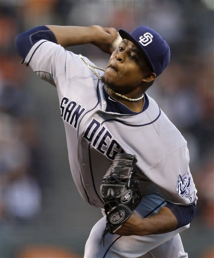 San Diego Padres' Edinson Volquez works against the San Francisco Giants in the first inning of a baseball game on Friday, April 19, 2013, in San Francisco. (AP Photo/Ben Margot)