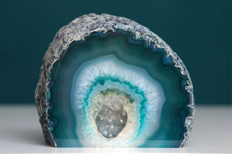"<p><strong>State Rock: Geode </strong></p><p>These rocks, which have beautiful and colorful quartz designs inside, were made the <a href=""http://publications.iowa.gov/135/1/profile/8-1.html"" rel=""nofollow noopener"" target=""_blank"" data-ylk=""slk:state rock in 1967"" class=""link rapid-noclick-resp"">state rock in 1967</a>. </p>"