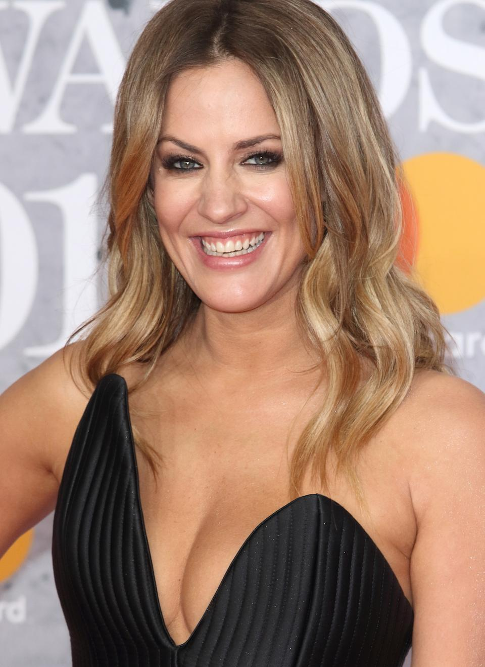 Caroline Flack seen on the red carpet during The BRIT Awards 2019 at The O2, Peninsula Square in London. (Photo by Keith Mayhew / SOPA Images/Sipa USA)