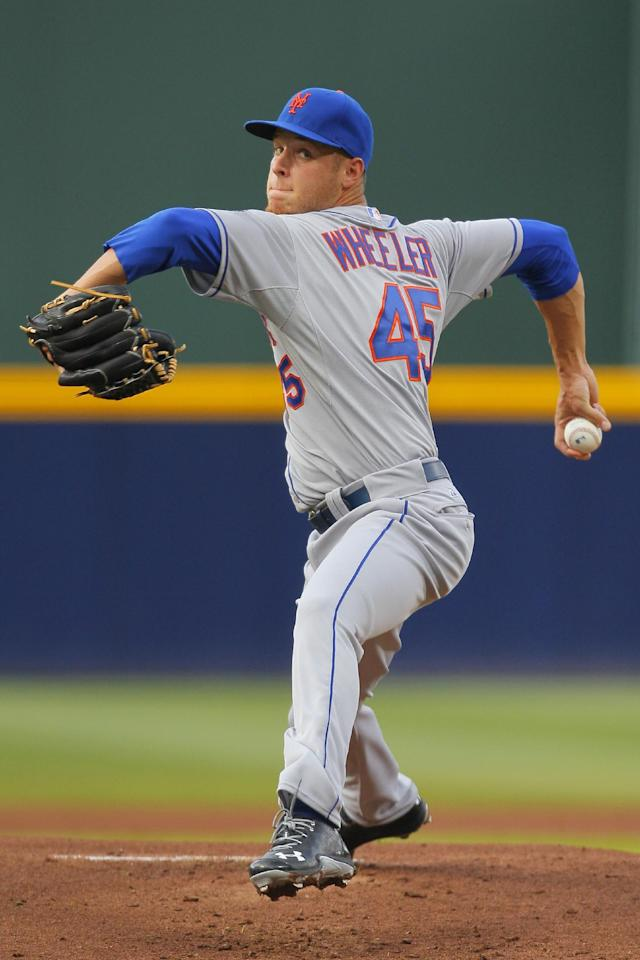 New York Mets starting pitcher Zack Wheeler pitches in the first inning in the second baseball game of the doubleheader against the Atlanta Braves Tuesday, June 18, 2013, in Atlanta. (AP Photo/Todd Kirkland)