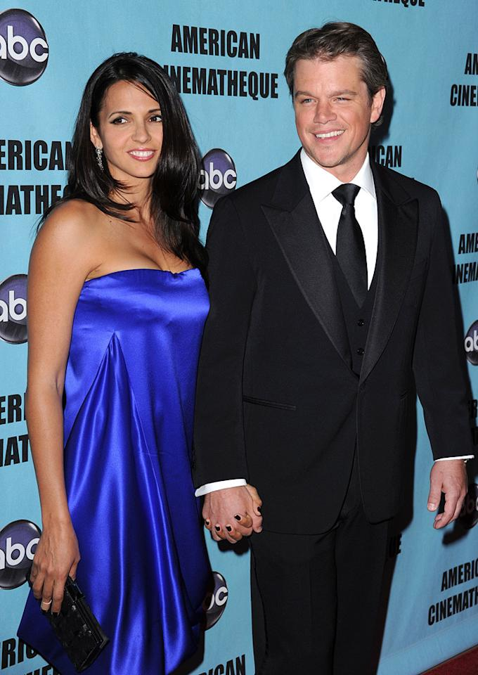 "Luciana Barroso and <a href=""http://movies.yahoo.com/movie/contributor/1800020155"">Matt Damon</a> at the 24th American Cinematheque Annual Gala Honoring Matt Damon on March 27, 2010."