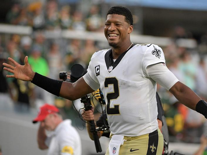 Jameis Winston celebrates after a win against the Green Bay Packers.