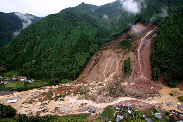 <p>In this aerial image, a landslide swamps Ono area after the torrential rain on July 6, 2017 in Hita, Oita, Japan. (Photo: The Asahi Shimbun via Getty Images) </p>