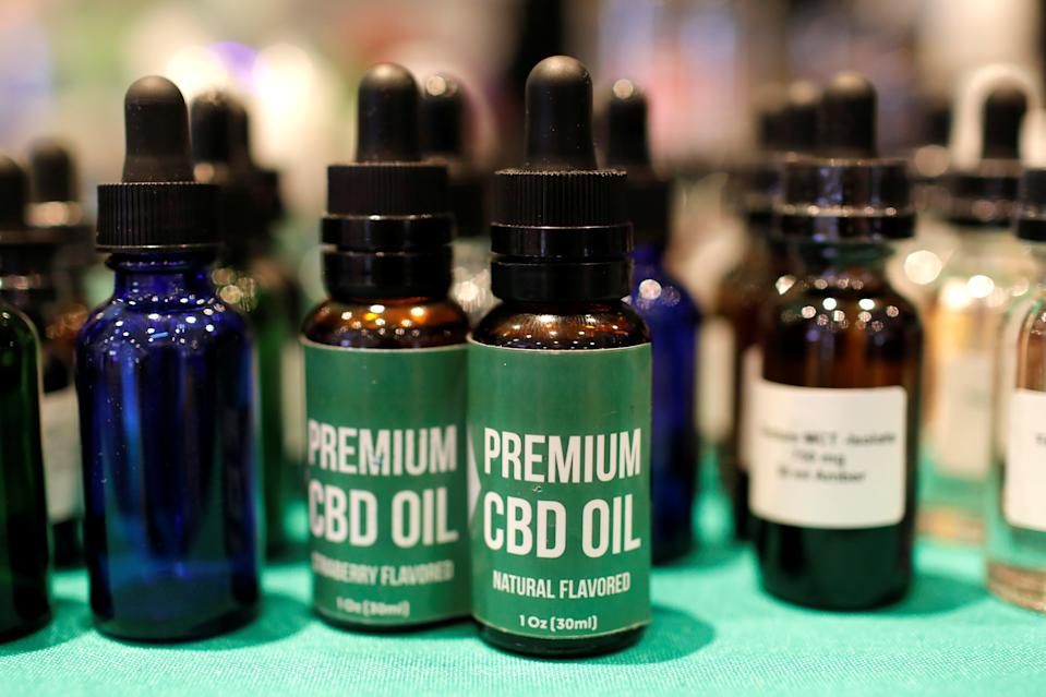 CBD Oil is displayed at The Cannabis World Congress & Business Exposition (CWCBExpo) trade show in New York City, New York, U.S., May 30, 2019. REUTERS/Mike Segar
