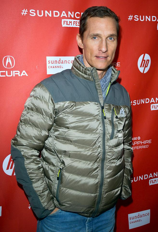 PARK CITY, UT - JANUARY 19:  Actor Matthew McConaughey arrives at the 2013 Sundance Film Festival Premiere of 'Mud' at The Marc Theatre on January 19, 2013 in Park City, Utah.  (Photo by George Pimentel/Getty Images)