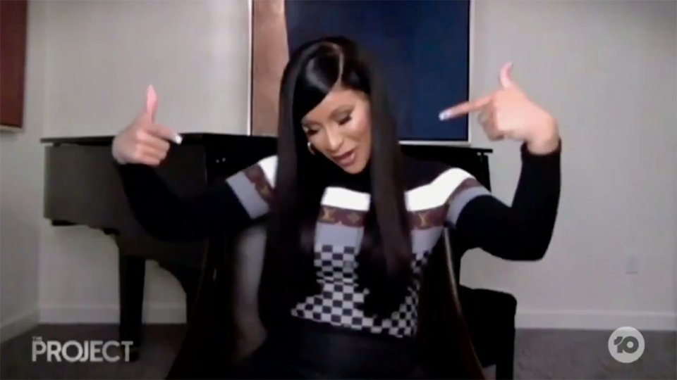 Cardi B points to lap during promo for WAP song on The Project