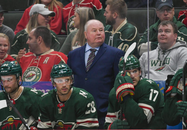 Minnesota Wild coach Bruce Boudreau watches the team's NHL hockey preseason game against DallasStars during the third period Tuesday, Sept. 17, 2019, in St. Paul, Minn. Dallas won 2-1 in overtime. (AP Photo/Craig Lassig)