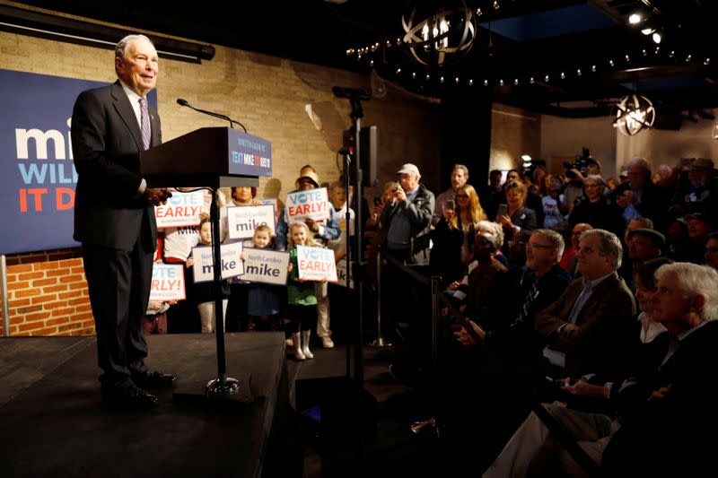 Democratic presidential candidate Bloomberg at campaign event in Winston-Salem, North Carolina