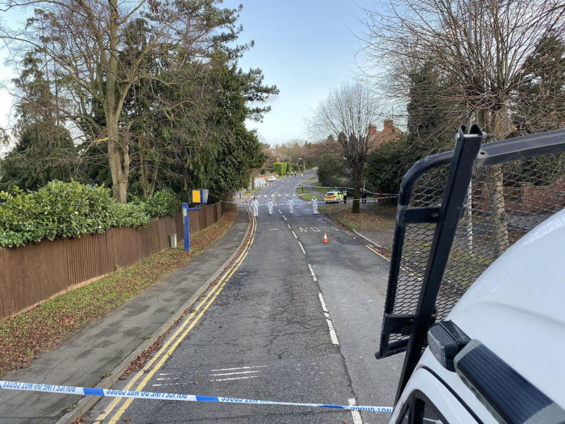Police closed off an area in Rushden, Northampton, following the fatal stabbing of a 25-year-old woman (Picture: PA)