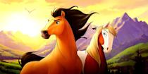 """<p><strong>Hulu's Description:</strong> """"A wild horse yearns to be free after he is captured by a nasty U.S. colonel.""""</p> <p><span>Stream <strong>Spirit: Stallion of the Cimarron</strong> on Hulu!</span></p>"""