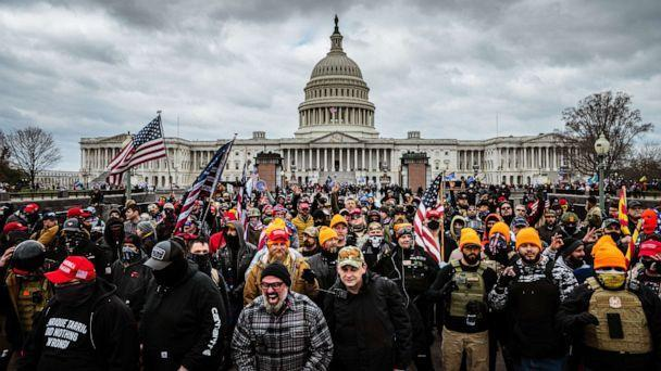 PHOTO: Pro-Trump protesters gather in front of the U.S. Capitol Building, Jan. 6, 2021 in Washington, DC.  (Jon Cherry/Getty Images, FILE)