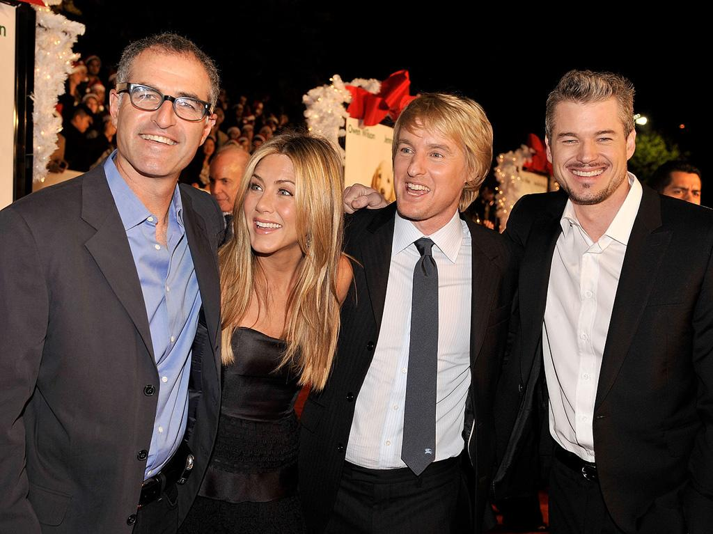 """Director <a href=""""http://movies.yahoo.com/movie/contributor/1800145510"""">David Frankel</a>m <a href=""""http://movies.yahoo.com/movie/contributor/1800021397"""">Jennifer Aniston</a>, <a href=""""http://movies.yahoo.com/movie/contributor/1800019255"""">Owen Wilson</a> and <a href=""""http://movies.yahoo.com/movie/contributor/1802866800"""">Eric Dane</a> at the Los Angeles premiere of <a href=""""http://movies.yahoo.com/movie/1809995057/info"""">Marley & Me</a> - 12/11/2008"""