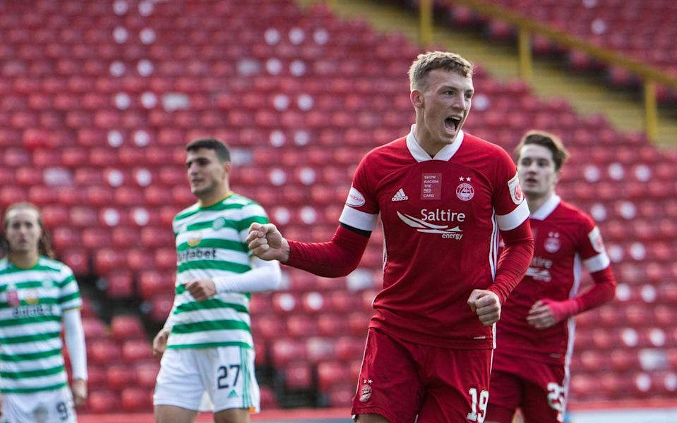 Lewis Ferguson of Aberdeen celebrates during the Ladbrokes Premiership match between Aberdeen and Celtic at Pittodrie Stadium on October 25, 2020 in Aberdeen -  Getty Images