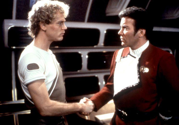 Merritt Butrick and William Shatner in <em>Star Trek II: The Wrath of Khan.</em>