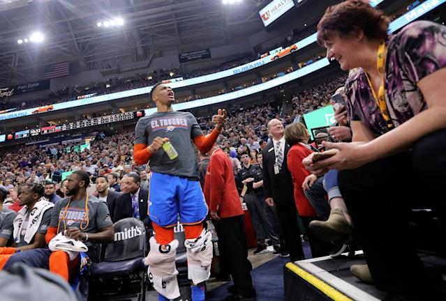Thunder guard Russell Westbrook got into a heated verbal altercation with a fan on Monday. (AP Photo/Rick Bowmer)