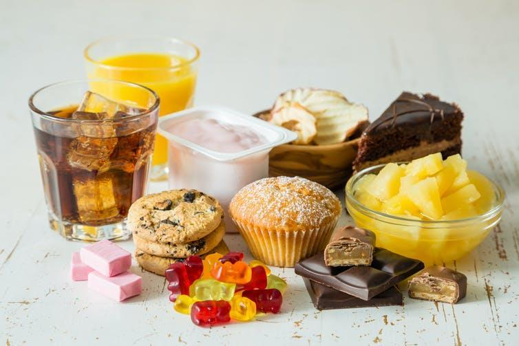A selection of sugar-rich processed foods.