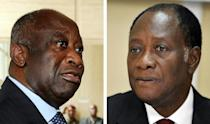 Laurent Gbagbo, left, and Alassane Ouattara, at the height of their power struggle in December 2010
