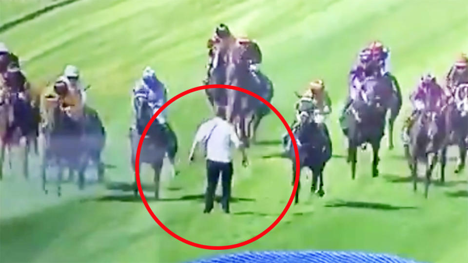 The man, pictured here after running onto the track during race eight on Wellington Cup day.