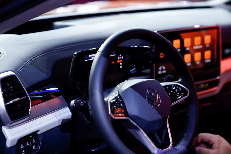 A Volkswagen logo is seen on a steering wheel as it launches its ID.6 and ID.6 CROZZ SUV at a world premiere ahead of the Shanghai Auto Show