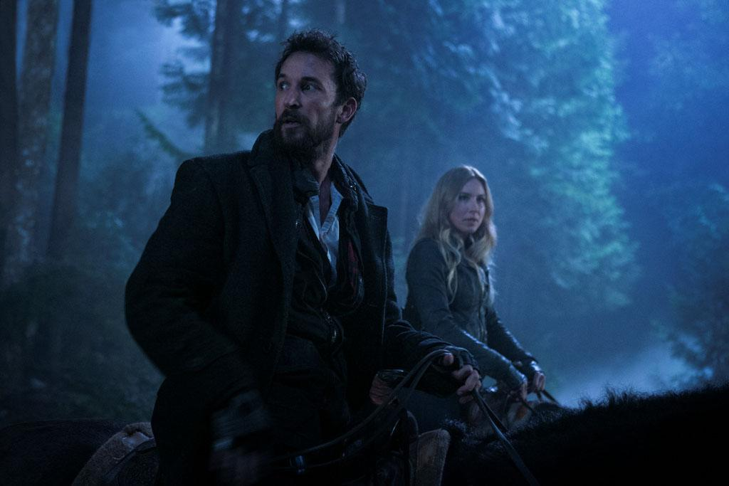 "Noah Wyle and Sarah Carter in the ""Falling Skies"" episode, ""Collateral Damage."""
