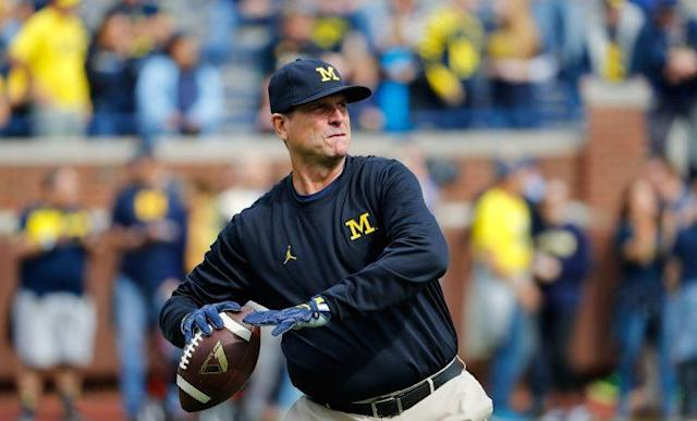 Jim Harbaugh has Michigan on course for a Big Ten title and a spot in the College Football Playoff. (Getty Images)