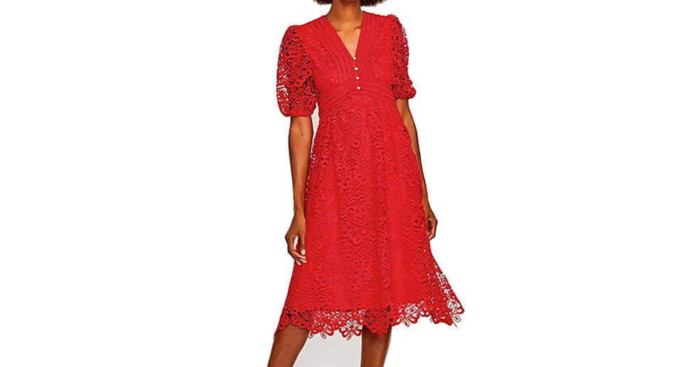 Cutwork Lace Midi Dress