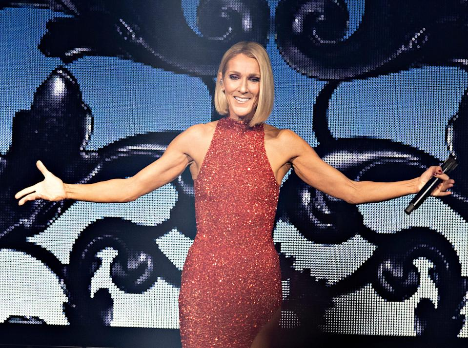 Celine Dion performing during her Courage World Tour in 2019.